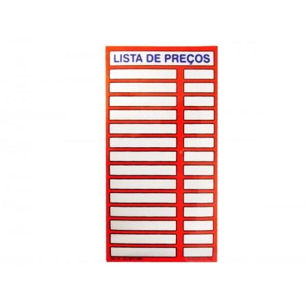 PLACA PVC 16X34 LISTA PRECOS VERMELHO