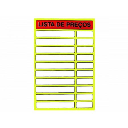 PLACA PVC 34X51 LISTA PRECOS AMARELO
