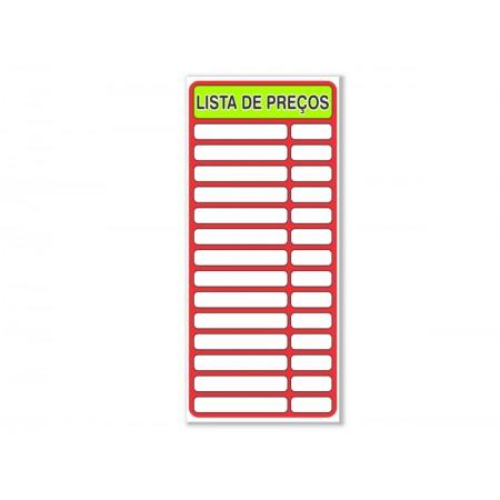 PLACA PVC 35X80 LISTA DE PRECOS VERMELHA
