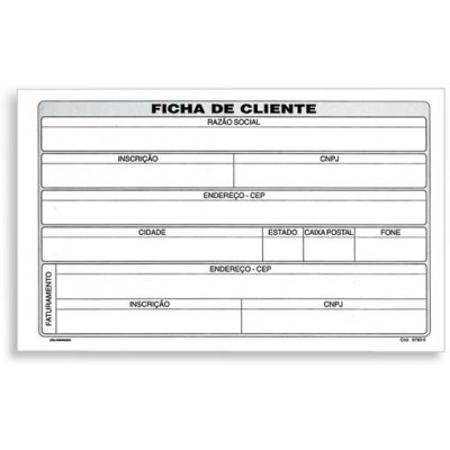 """FICHA 5""""X8"""" CLIENTE PESSOA F.13X20 C/100"""