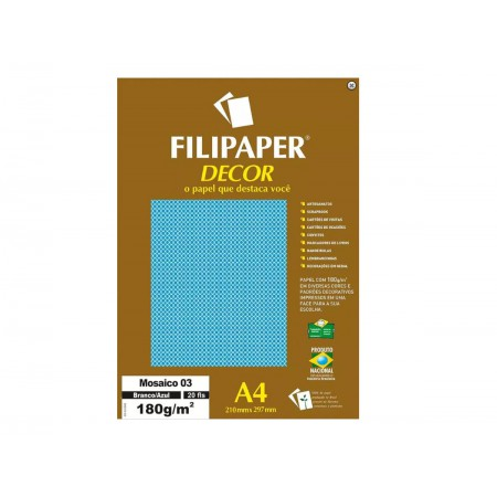 PAPEL COLOR SET A4 MOSAI.BR/AZ.180G.20F.