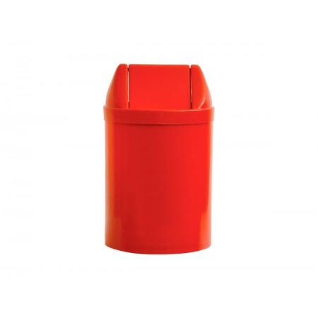 LIXEIRA 14L.PLAST.VERMELHO 30X24 TP.BAS