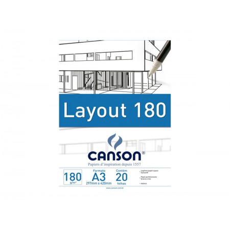 BLOCO PAPEL LAYOUT A3 LISO 180G.20F.