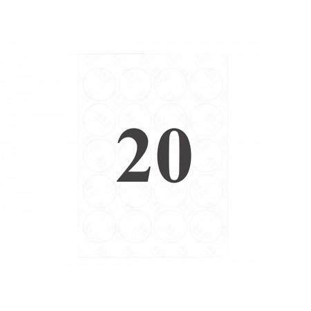 ETIQUETA REDONDA 24MM BRANCA 20X3F.