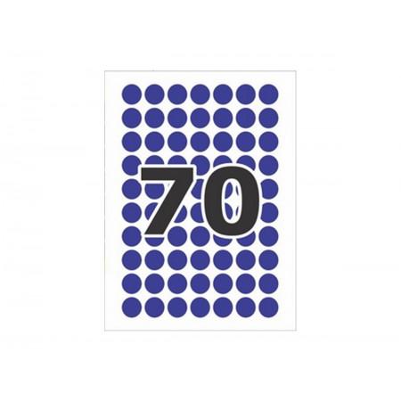 ETIQUETA REDONDA 12MM.AZUL C/210