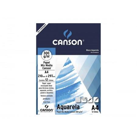 PAPEL CANSON AQUARELA A4 300GR C/12FL